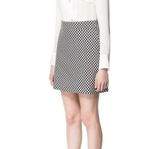 ZARA Checkered Black And White Skirt